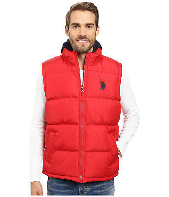 Mens U.S. POLO ASSN. Puffer Vest Jacket Red/Blue size L Sleeveless NEW with Tags