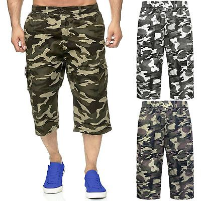 Mens 3/4 Shorts Elasticated Waist Army Combat Cargo Pockets Camouflage Trousers