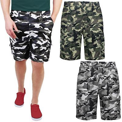 Mens Military Camouflage Elasticated Shorts Army Combat Cargo Knee Length Pants