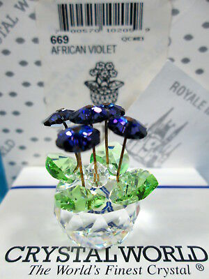 Crystal World African Violet Miniature Figurine 1st Version New In Box Retired