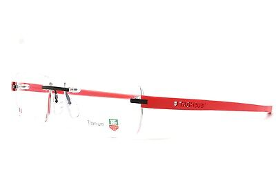 TAG HEUER Reflex 3943 002 RED Rimless New AUTHENTIC Eyeglasses 56-15-140