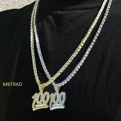 "Men's Hip Hop Fashion Iced Out Mini Emoji 100 Pendant 24"" Rope Tennis Necklace"