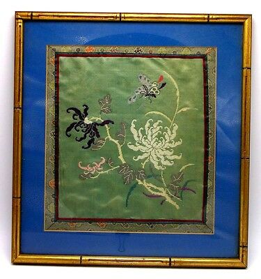 Antiques Linens & Textiles (pre-1930) Purposeful Vintage Silk Embroidery Picture In Frame
