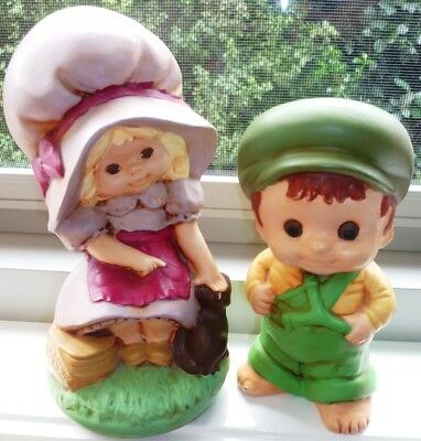"""Figurines Vintage Collectable Hand Made Ceramic Ornamental -  """"girl & Boy"""""""
