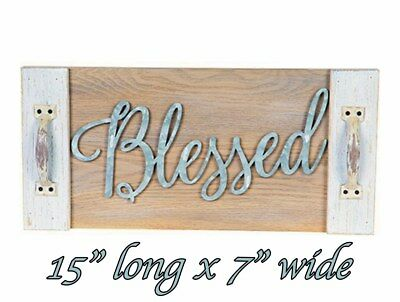 "BLESSED Wall Plaque TRAY MDF 15"" x 7"" Shabby Chic HANGING HOUSE DECOR Whitewash"