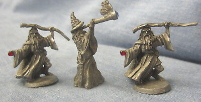 Tiny Set Of 3 Rawcliffe Spoontique Pewter Wizards With Crystals