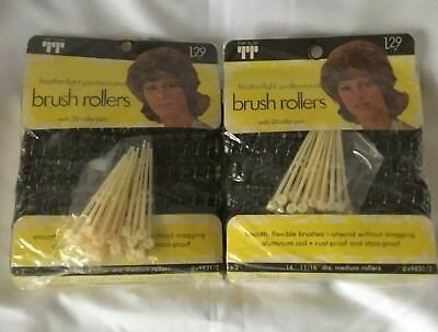 Vintage Brush Hair Rollers Tip Top Featherlight Professional New Old Stock