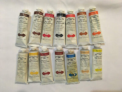 Winsor & Newton Artists oil colours. 14 tubes 37ml, assorted colours unused. X