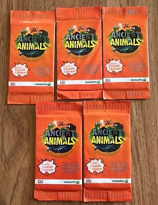 (5) Woolworths Ancient Animals 5 Unopened Packs