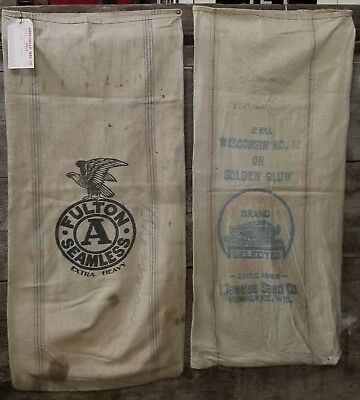 Antique Extra Heavy Fulton A Seamless ,& Golden Glow Feed Sack Bag Farm Lot of 2
