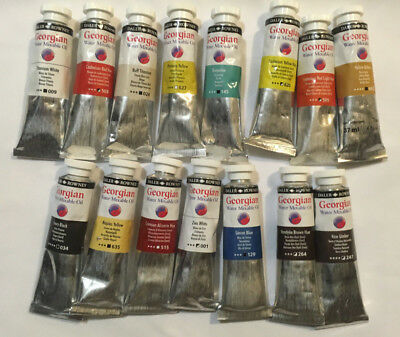 Daler-Rowney Water Mixable Oils. 15 tubes assorted oil colours. unused.