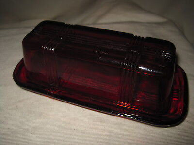 Ruby Red Glass 1/4lb Covered Butter Dish Crisscross Pattern Excellent Condition