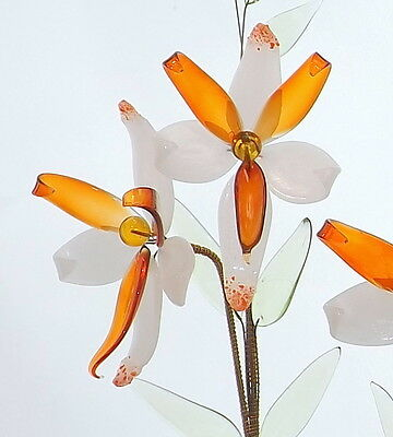 Flower Table Decoration Ornament Glass Flower With Vase Bohemian/ Czech Quality