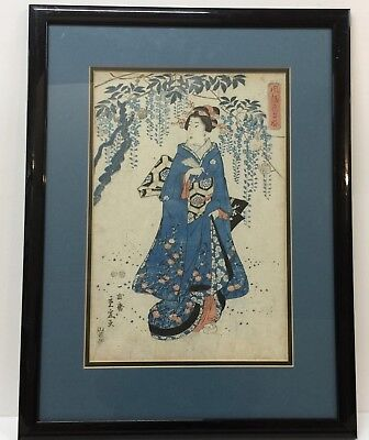 Japanese Woodblock Print Antique  geisha framed