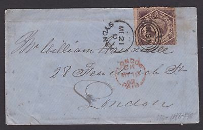 NSW RARE 1862 6d Violet QV DIADEM ON COVER TO LONDON POSTAL HISTORY (GF73)