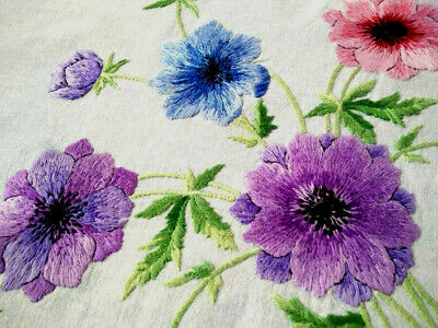 Exquisite Pastel Anemone Flowers  ~ Vintage Large Hand Embroidered Tablecloth