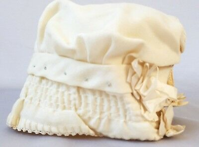 Antique Edwardian Baby Bonnet Ivory Wool & Silk Smocked Embroidered Infant Hat
