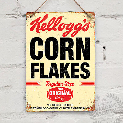 Corn Flakes Vintage Metal Wall Sign Plaque Retro Kitchen Shabby Chic Breakfast
