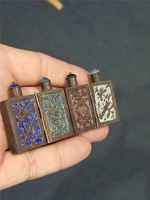 Antique Chinese Silver Enamel Triple Hinged Snuff Bottle Scent Perfume  Qing Dyn