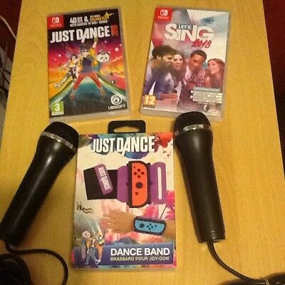 Nintendo switch    Lets sing & just dance & Band like Mario) 2018  2 wired Mics