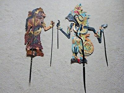 Antique Chinese Asian Leather Shadow Puppets x 2 Dragon Hand Painted