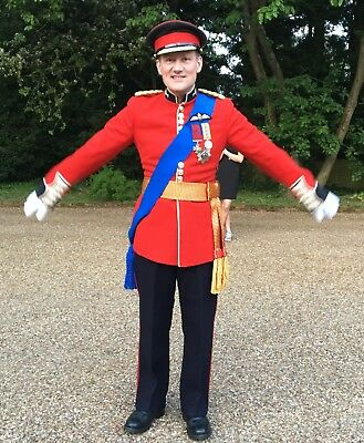 Military red tunic outfit (Royal) fancy dress - trousers/medals/ceremonial sash