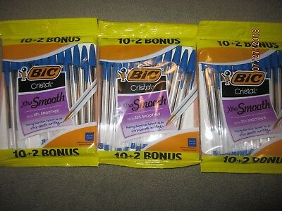 3x Bic Cristal Xtra Smooth Ball Point Pen Blue Ink Medium 12 count per pack