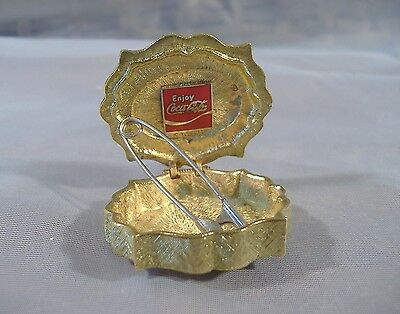 Enjoy Coca Cola Pill Box Vintage Gold Metal Enamel Wave Logo Coke 1969-1985