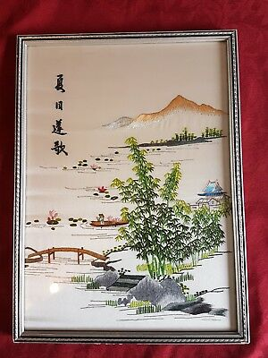 Vintage Chinese Silk Embroidery Picture Lake Scene