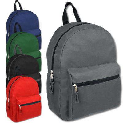 Lot of 24 Wholesale 15 Inch Basic Backpacks in 5 Assorted Solid Colors