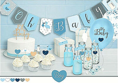 Oh Baby! Stylish Blue Boy Baby Shower Party Themed Decorations Games & Gifts