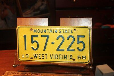 1968 West Virginia License Plate 157-225 Mountain State with envelope