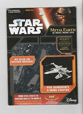 Metal Earth Star Wars Poe Dameron's X-Wing Fighter 3D Model Kit ~ Brand New!