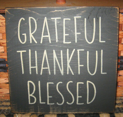 PRIMITIVE  COUNTRY GRATEFUL~THANKFUL~BLESSED SMALL sq  black  SIGN