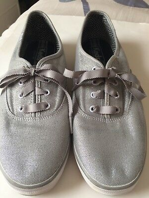 7939dcfcb49aa KEDS Champion Canvas Sneakers Oxford Ribbon Lace Shoes Metallic Silver Gray  9.5