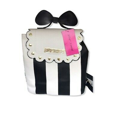 64865f4edc2 Betsey Johnson Backpack Bow Top Handle Black & White Stripes Bag New with  Tags