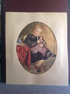 ANTIQUE - EARLY 19th CENTURY - WATERCOLOUR - YOUNG GIRL - DOLL - GEORGIAN