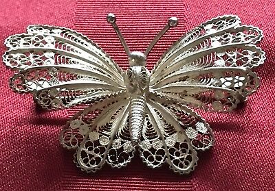 Antique/Vintage ~ EXQUISITE~ LARGE Sterling Silver Filigree Butterfly Brooch/Pin