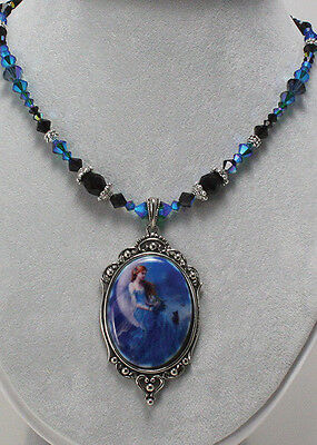 WIND MOON Cameo Crystal Necklace Fairy Pendant NENE THOMAS