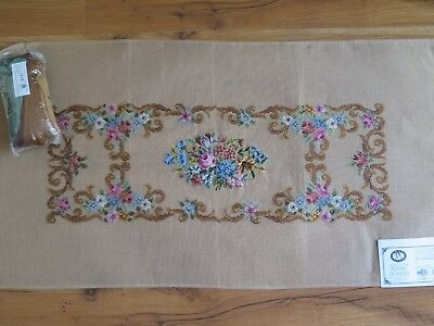 1528 QUEEN ADELAIDE large tramme tapestry kit with petit point FLOWERS