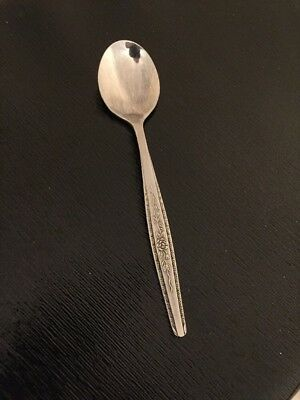 Interpur INR7 Stainless Silver Sugar Spoon Flatware Rose Pattern