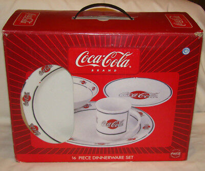 16 Piece Coca Cola Dish Set Stoneware Dinner Plates Cups Bowls Red White In Box