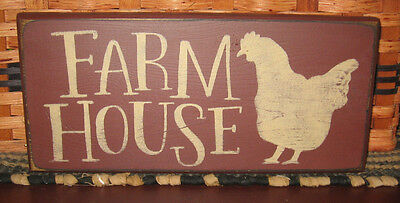 "PRIMITIVE  COUNTRY FARM HOUSE  12"" SIGN  BURGUNDY w/ chicken"