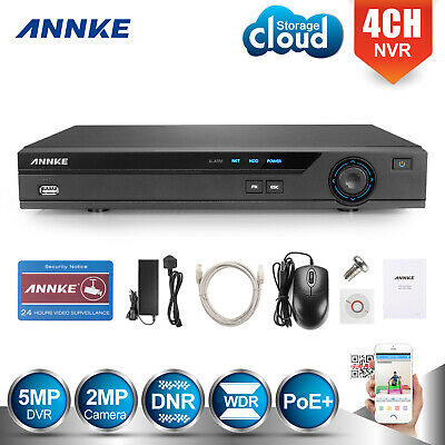 ANNKE 1080P 2MP 4CH POE NVR for Home Surveillance Security Camera System NO HDD