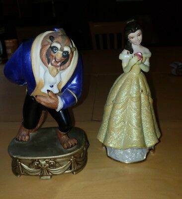 Disney Beauty and the Beast Ceramic Figurine Set Belle & Beast Vintage (flaw)