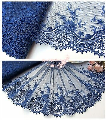 "9""*1Y Embroidered Tulle Lace Trim~Navy Blue~Unforgetable Grace~Costume/Sewing~"