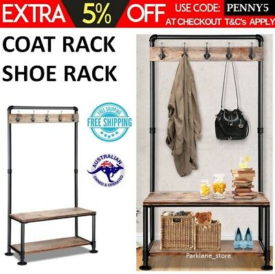 Hallway Coat Stand Shoe Rack Bench Furniture Industrial Metal Hooks Jacket Stand