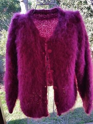 Vintage hand knitted mohair cardigan pink made in China