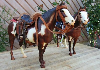 2 BREYER MOLDING CO. USA HORSES WITH SADDLES 9x11 GREAT CONDITION