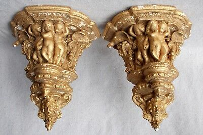 Antique Gilt Plaster Wall Bracket Shelves Chippy Paint Shabby Chic Neo Classical